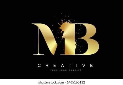 MB M B Letter Logo with Gold Melted Metal Splash Vector Design Illustration.