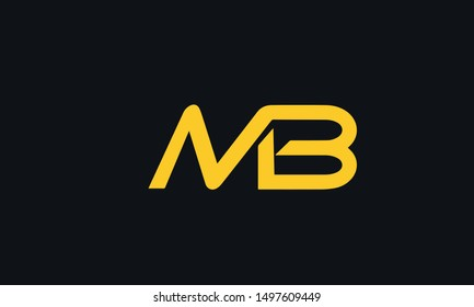 MB or M and B Letter Logo Design . Creative Modern Letters Vector Icon Logo Illustration. - Vector