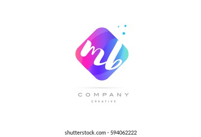 mb m b  pink blue rhombus abstract 3d alphabet company letter text logo hand writting written design vector icon template