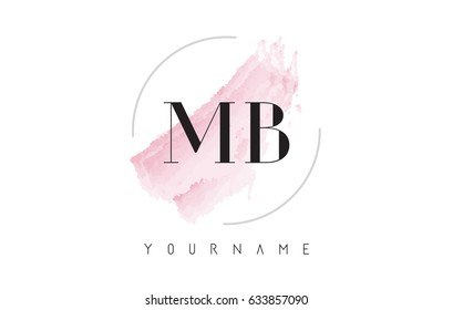 MB M B Watercolor Letter Logo Design with Circular Shape and Pastel Pink Brush.