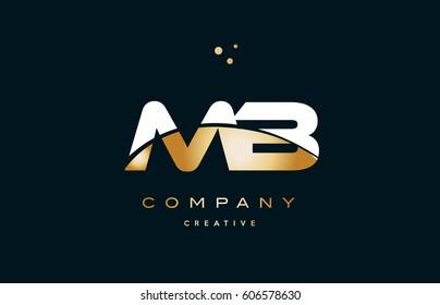 mb m b  white yellow gold golden metal metallic luxury alphabet company letter logo design vector icon template
