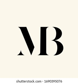 MB monogram logo. Letter m and letter b typographic icon. Lettering sign. Serif uppercase alphabet initials isolated on light fund. Modern, elegant, luxury style characters for beauty company brand.