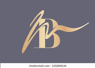 MB monogram.Elegant style typographic logo with lowercase letter m and uppercase letter b.Calligraphic lettering icon in golden metallic color isolated on dark background.Boutique or wedding sign.