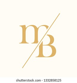 MB monogram.Typographic logo with lowercase letter m and uppercase serif letter b.Lettering icon in golden color isolated on light background.Elegant wedding, beauty and boutique sign.