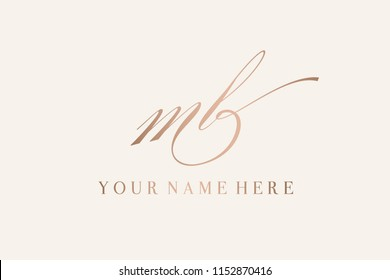 MB monogram.Vector icon with letter m and letter b intertwined.Elegant, calligraphic style lettering in golden color isolated on light background.