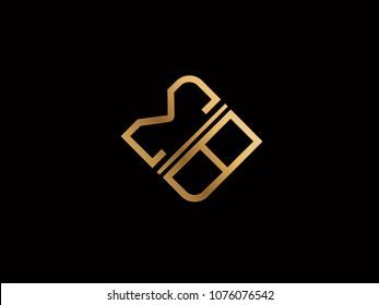 MB square shape Letter logo Design in silver gold color