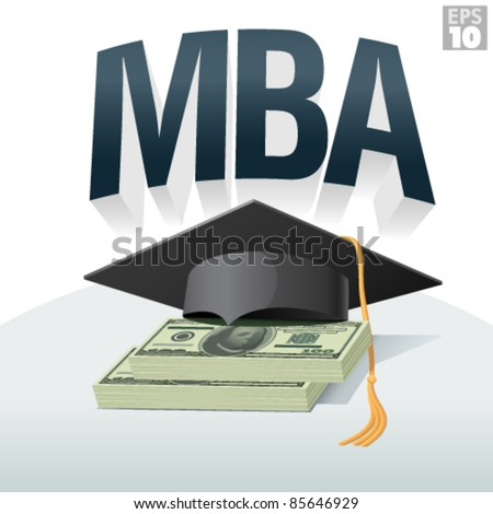 ca9a8494f5d MBA degree cost or tuition with graduation cap and stack of hundred dollar  bills