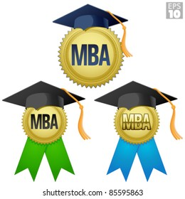 MBA graduation seal, medal with gold seal, ribbon, and graduation cap