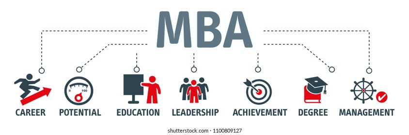 MBA - Master of Business Administration vector illustration concept with icons