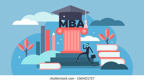 MBA vector illustration. Flat tiny Master of Business Administration person concept. Education management strategy for student knowledge growth. Graduation hat as academical learning and wisdom symbol