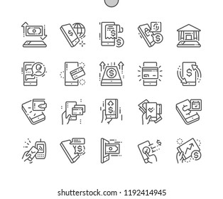 M-banking Well-crafted Pixel Perfect Vector Thin Line Icons 30 2x Grid for Web Graphics and Apps. Simple Minimal Pictogram
