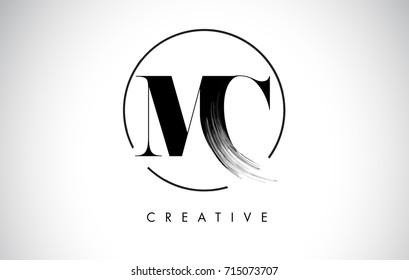 MC Brush Stroke Letter Logo Design. Black Paint Logo Leters Icon with Elegant Circle Vector Design.