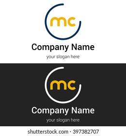 MC business logo icon design template elements. Vector color sign.
