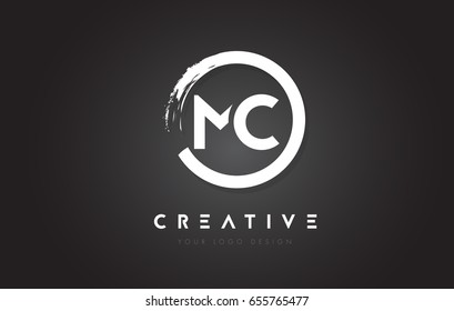 MC Circular Letter Logo with Circle Brush Design and Black Background.