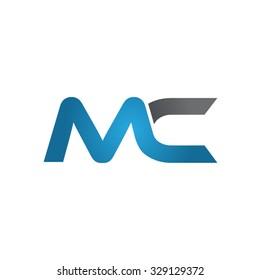 MC company linked letter logo blue