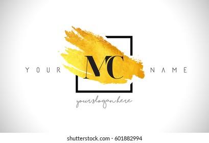MC Golden Letter Logo Design with Creative Gold Brush Stroke and Black Frame.