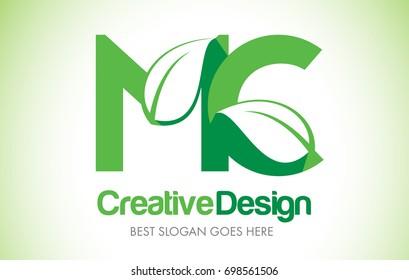 MC Green Leaf Letter Design Logo. Eco Bio Leaf Letters Icon Illustration Vector Logo.
