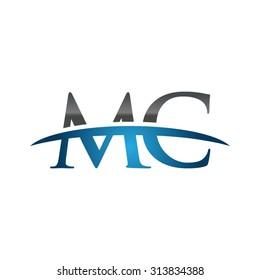 MC initial company blue swoosh logo
