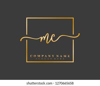 MC Initial handwriting square minimalist logo vector