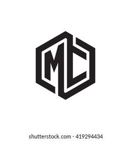 MC initial letters looping linked hexagon monogram logo