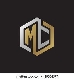 MC initial letters looping linked hexagon elegant logo golden silver black background