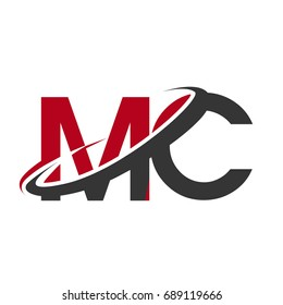 MC initial logo company name colored red and black swoosh design, isolated on white background. vector logo for business and company identity.
