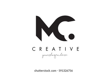 MC Letter Logo Design with Creative Modern Trendy Typography and Black Colors.
