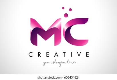 MC Letter Logo Design Template with Purple Colors and Dots