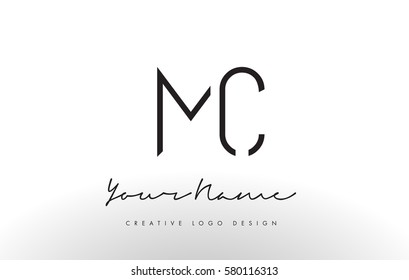 MC Letters Logo Design Slim. Simple and Creative Black Letter Concept Illustration.