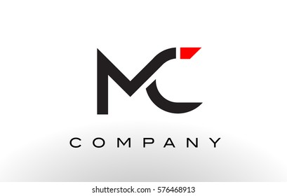 MC Logo.  Letter Design Vector with Red and Black Colors.
