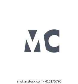MC Logo. Vector Graphic Branding Letter Element. White Background