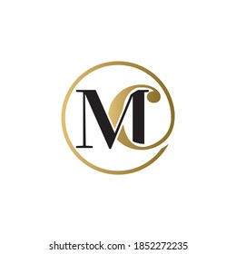 mc luxury logo design vector icon symbol circle