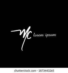 MC M C Initial handwriting creative fashion elegant design logo template vector