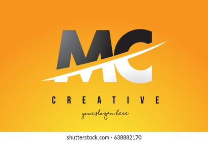 MC M C Letter Modern Logo Design with Swoosh Cutting the Middle Letters and Yellow Background.