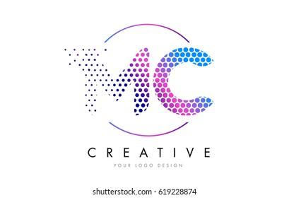 MC M C Pink Magenta Dotted Bubble Letter Logo Design. Dots Lettering Vector Illustration