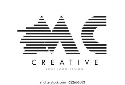 MC M C Zebra Letter Logo Design with Black and White Stripes Vector