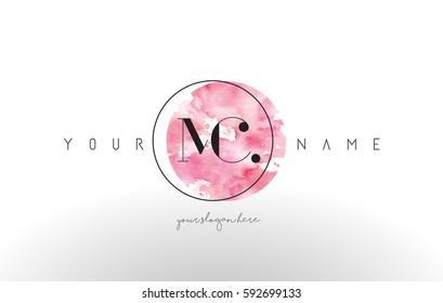 MC Watercolor Letter Logo Design with Circular Pink Brush Stroke.