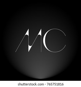 MC White thin minimalist LOGO Design with Highlight on Black Background.
