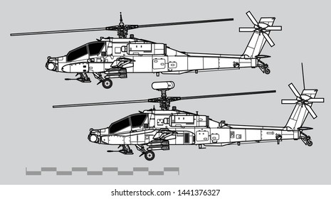 McDonnell Douglas AH-64 Apache. Outline vector drawing