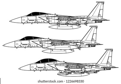 McDonnell Douglas F-15 EAGLE. Outline vector drawing