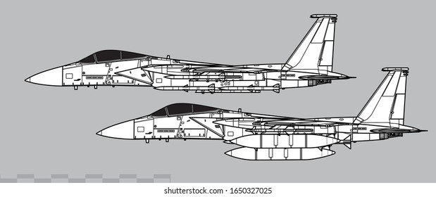McDonnell Douglas F-15 Eagle. Vector drawing of modern combat aircraft. Side view. Image for illustration.