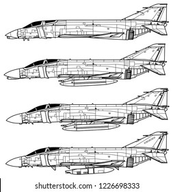 McDonnell Douglas F-4 PHANTOM II. Outline vector drawing
