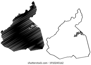 McDowell County, North Carolina State (U.S. county, United States of America) map vector illustration, scribble sketch McDowell map