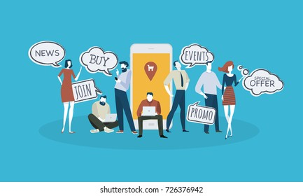 M-commerce. Flat design business people concept. Vector illustration for web banner, business presentation, advertising material.
