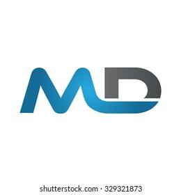 MD company linked letter logo blue