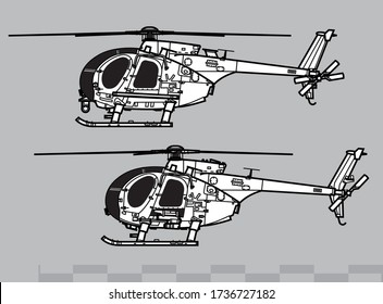 MD Helicopters MH-6, AH-6 Little Bird. Vector drawing of light attack helicopters for special operations. Side view. Image for illustration and infographics.