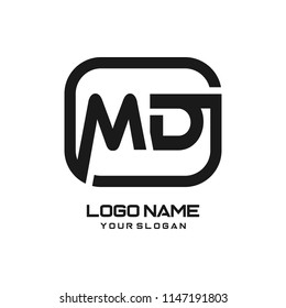 MD initial box letter logo template vector