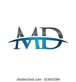 MD initial company blue swoosh logo