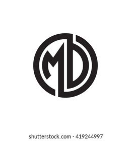 MD initial letters looping linked circle monogram logo