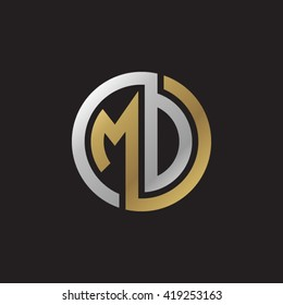 MD initial letters looping linked circle elegant logo golden silver black background